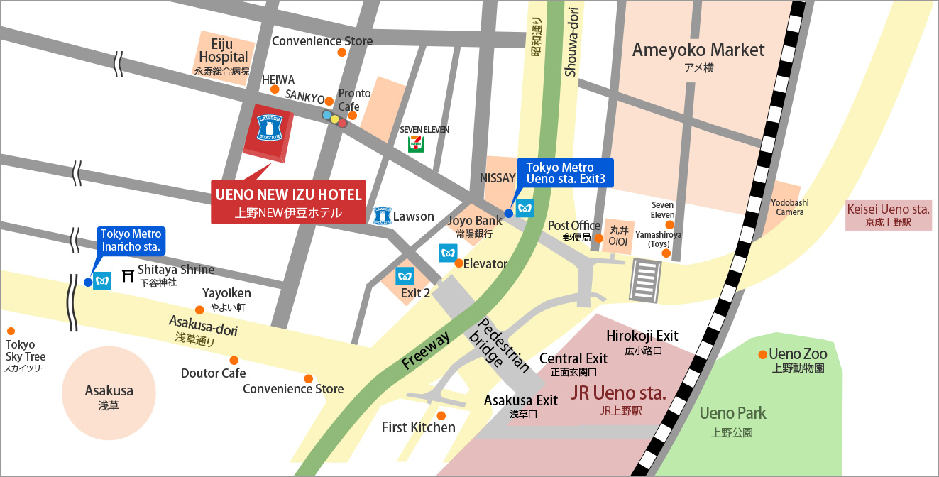 Access map from Ueno Tokyo NEW Izu hotel nearest station